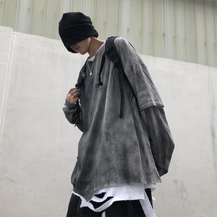 秋季假兩件t恤男長袖潮牌嘻哈kanye寬鬆做舊薄oversize扎染衞衣潮