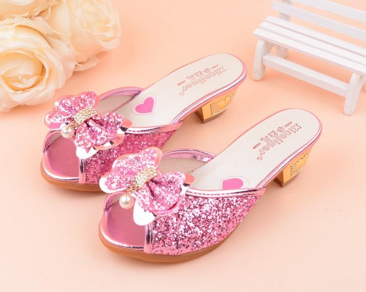 夏季女鞋拖鞋蝴蝶结水晶高跟软底防滑时尚休闲百搭公主凉鞋包头