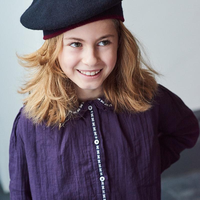萝拉宝贝现货 英国 caramel CBC 19秋冬女童木耳边衬衫领娃娃上衣
