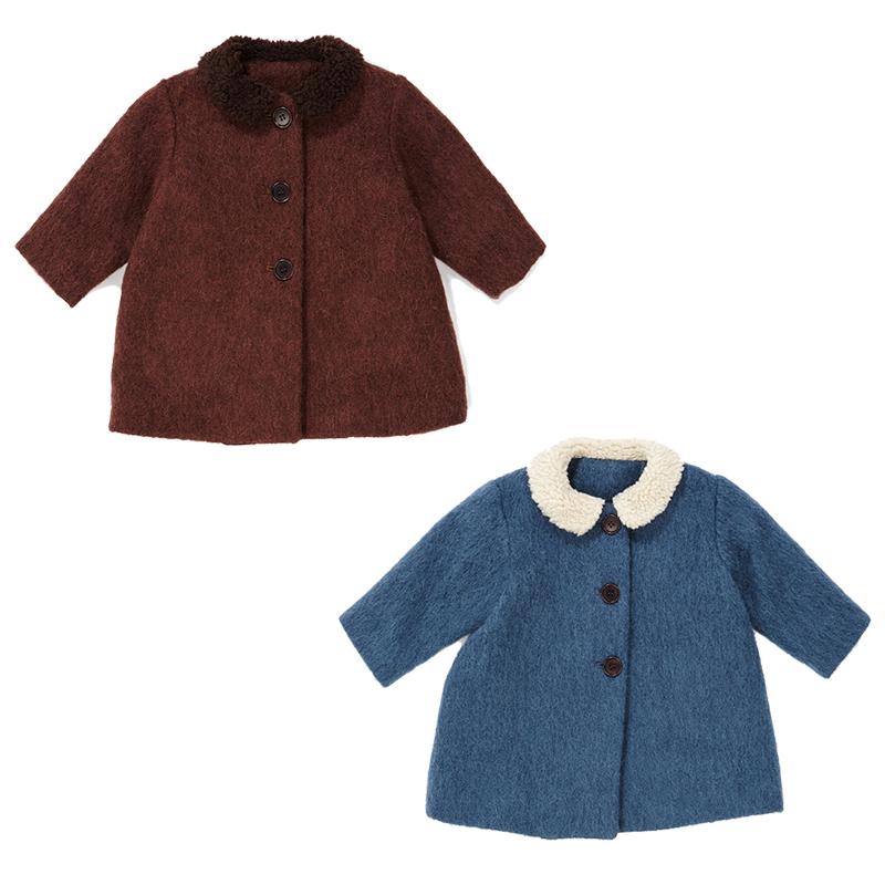 萝拉宝贝现货 英国 caramel CBC 19秋冬儿童英伦风纯色中长款大衣