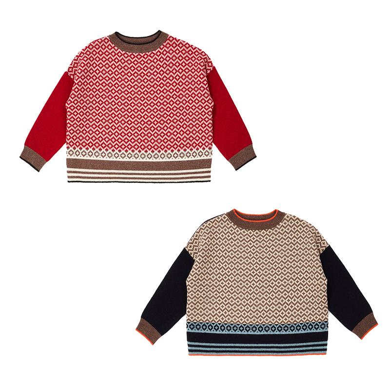 萝拉宝贝现货 英国 caramel CBC 19AW儿童英伦复古花纹套头羊毛衫