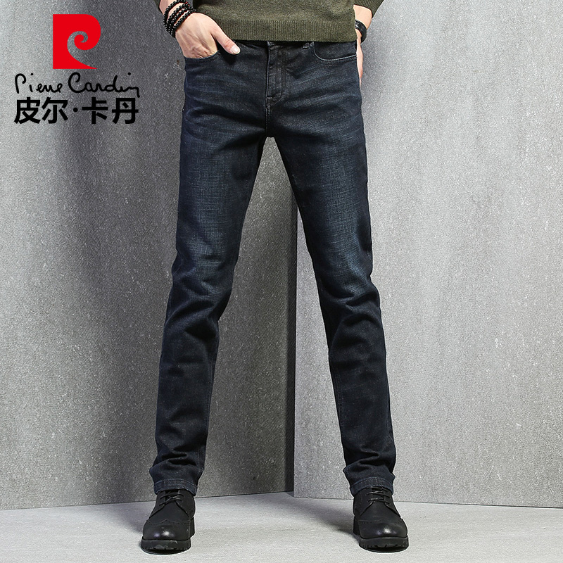 Pierre Cardin jeans men's straight loose loose plus velvet thick stretch business casual fashion autumn and winter long pants