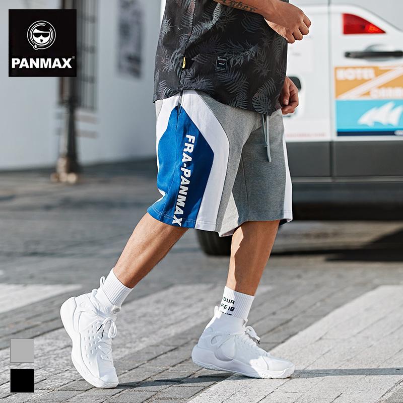 PANMAX加肥加大碼撞色印花字母ins五分褲潮牌胖子男裝休閑短褲