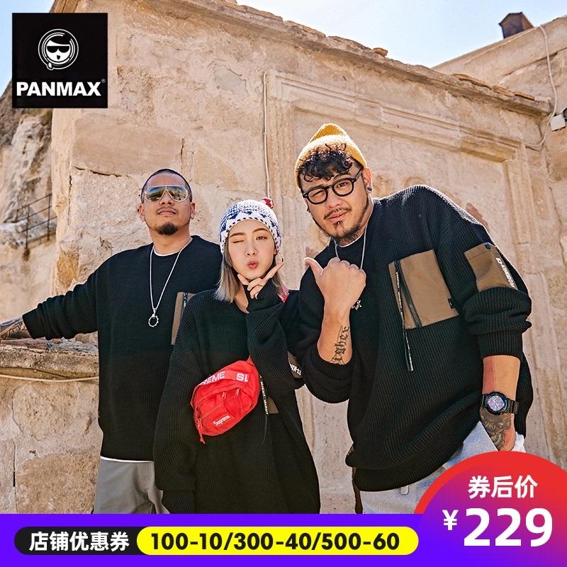 PANMAX潮牌男装针织衫OVERSIZE黑色工装贴袋毛衫大码肥佬套头毛衣