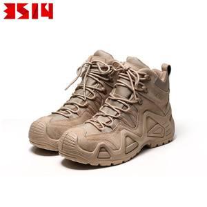 3514神行太保新款男士户外战术沙漠靴马丁靴四季款牛皮中帮徒步