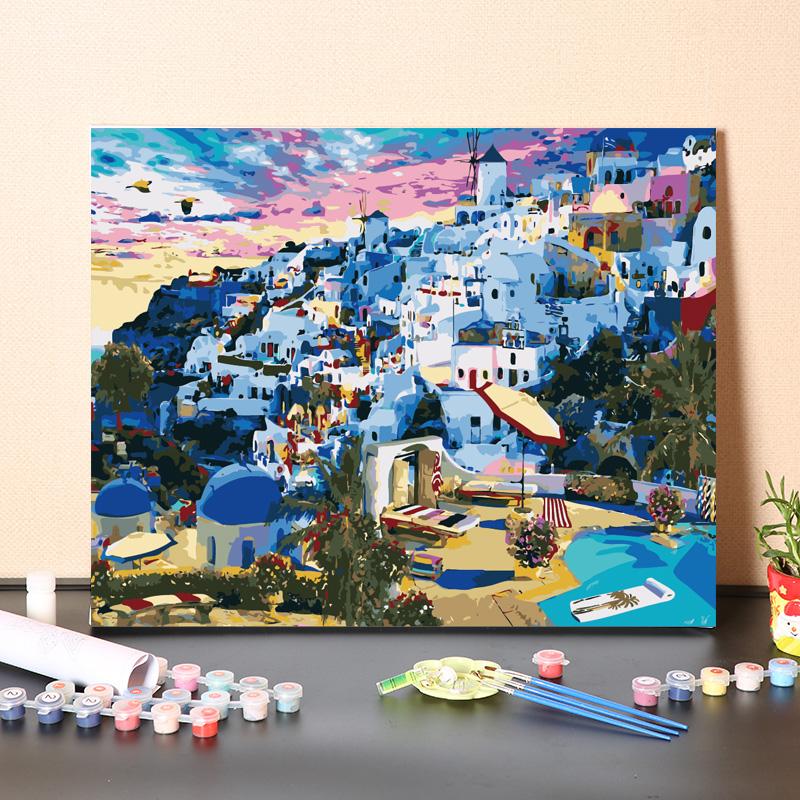 涂色油彩畫畫數字油畫手工填充希臘愛琴海圣托里尼風景手繪畫diy