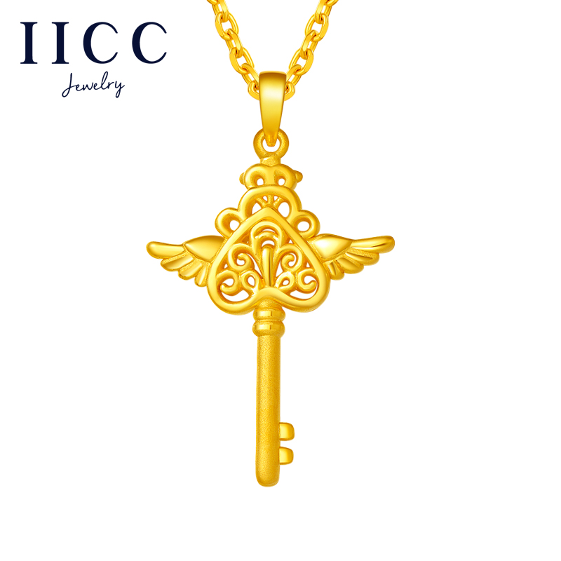 IICC Gold Pendant love promise gold necklace womens 999 full gold clavicle chain set chain 3D hard gold gift