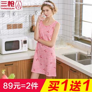 三枪睡裙女 纯棉夏季睡衣圆领无袖女士家居裙夏薄款长款外穿70338图片