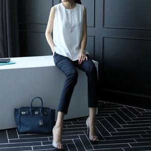 西装裤子女2020春夏新款韩版高腰直筒黑色九分休闲修身小脚烟管裤