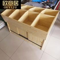 超市木制米桶米柜五谷杂粮展示柜米粮桶杂货柜米斗散货柜粮食货架