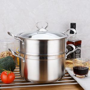 特厚不锈钢蒸锅家用汤锅单层小号煮锅燃气电磁炉通用2双层二三层