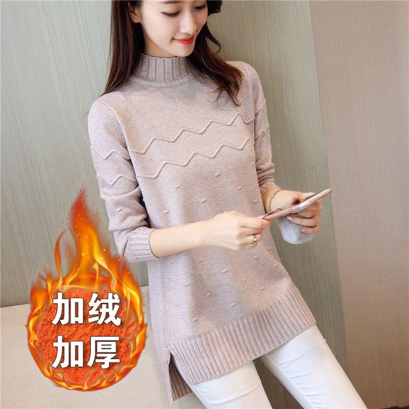 秋冬季韩版半高领土中长款宽松毛衣