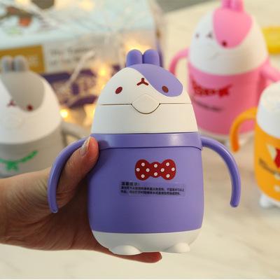 淘气宝贝儿童保温杯带吸管两用宝宝鸭嘴杯婴儿学饮杯幼儿园水杯壶