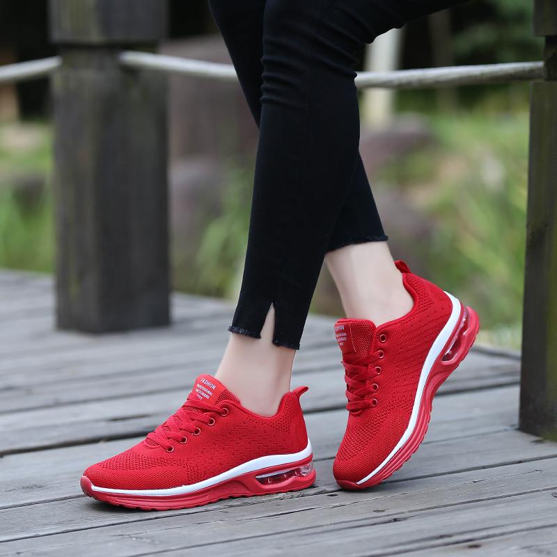 回力红色跑步鞋2021春季新款男女同款网眼透气休闲轻便运动鞋女鞋