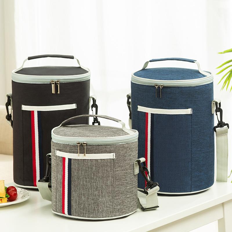 保温饭盒袋圆形圆筒带饭防油防水保温桶式便当大容量日式手提包