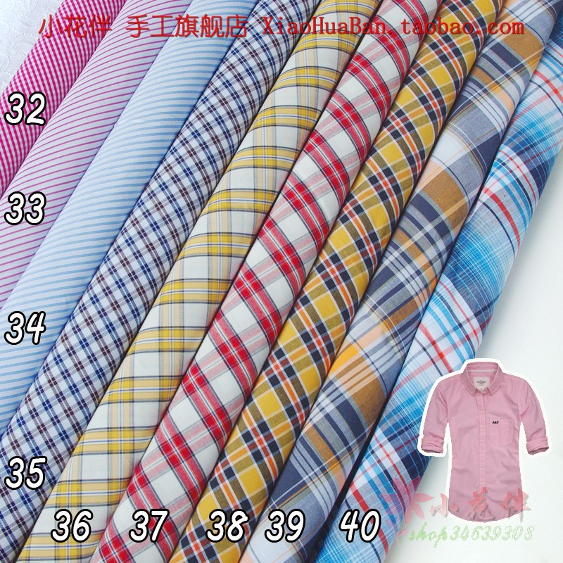 Иностранные хлопок полосой ткань рубашки рубашки профессиональный досуг плед платье Ткань хлопок