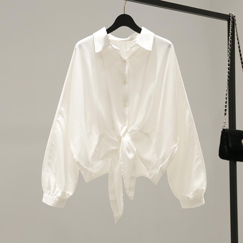 韓版系帶雪紡襯衫女春裝2020新款寬松上衣防曬衣收腰襯衣外套春秋
