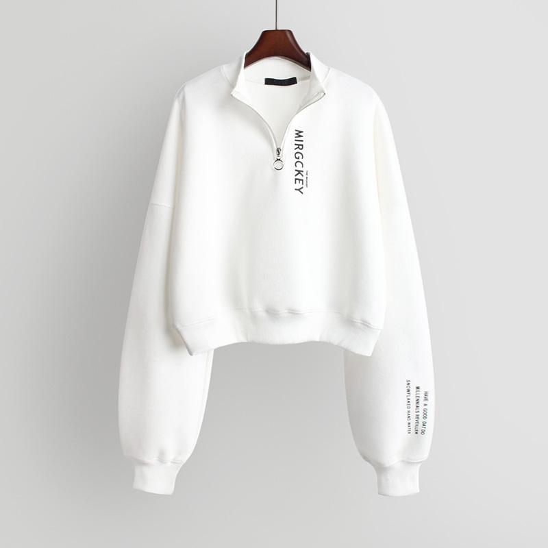 秋冬2020新款韩版立领拉链卫衣女短款宽松外套长袖上衣潮加厚加绒