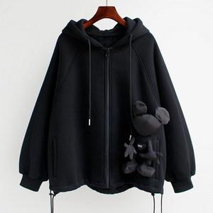 2021春季宽松短款小熊炸街卫衣外套春秋新款加绒加厚开衫上衣女潮
