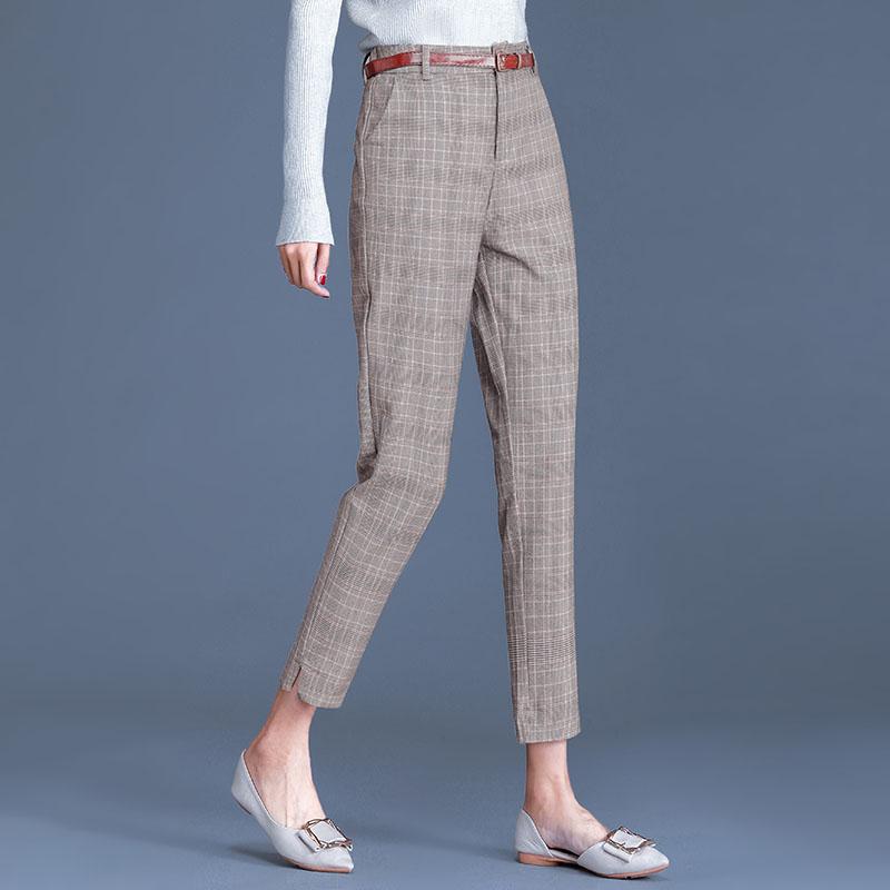 Nine point Harlem pants high waist Plaid casual pants womens legs straight show thin Plaid casual suit pipe pants fashion