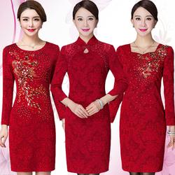 高贵婚礼妈妈装连衣裙秋装大码修身喜庆婆婆红色结婚宴旗袍礼服