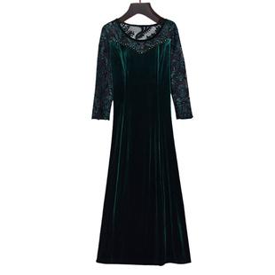 中年婚禮媽媽裝金絲絨改良旗袍連衣裙春秋高貴婚宴喜婆婆岳母禮服