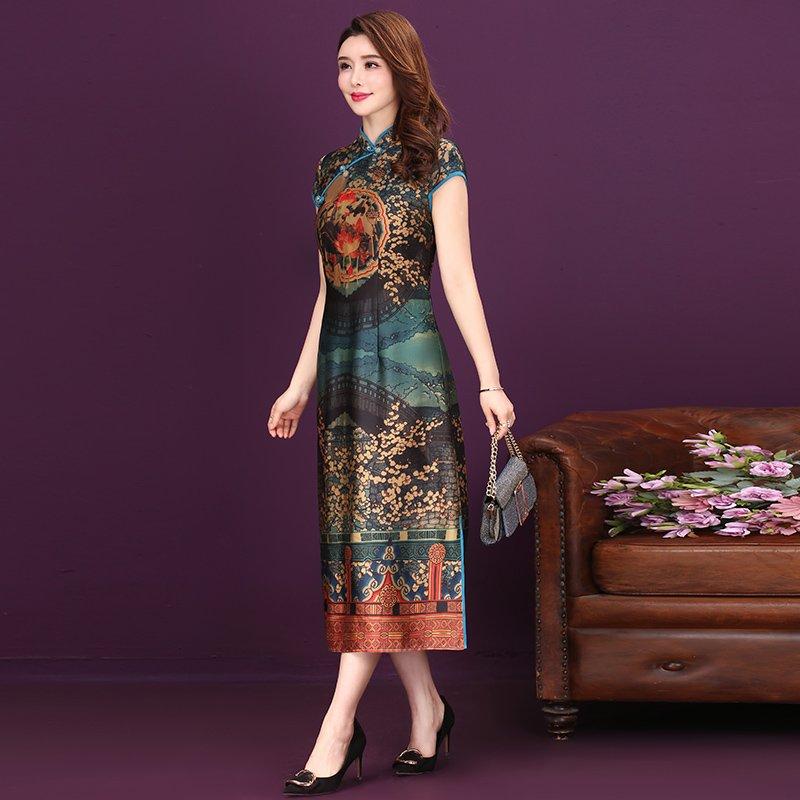 重磅真丝连衣裙中长款夏桑蚕丝修身显瘦奢华中国风碎印花旗袍长裙