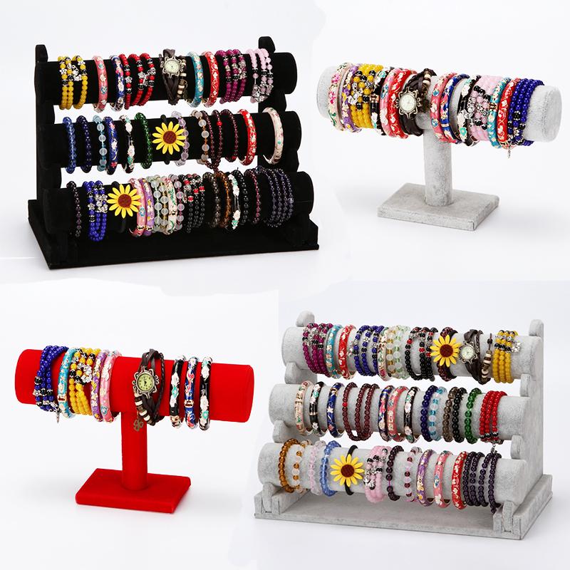 绒布单层三层手镯架首饰饰品展示架手表手链架子展示包装架 包邮