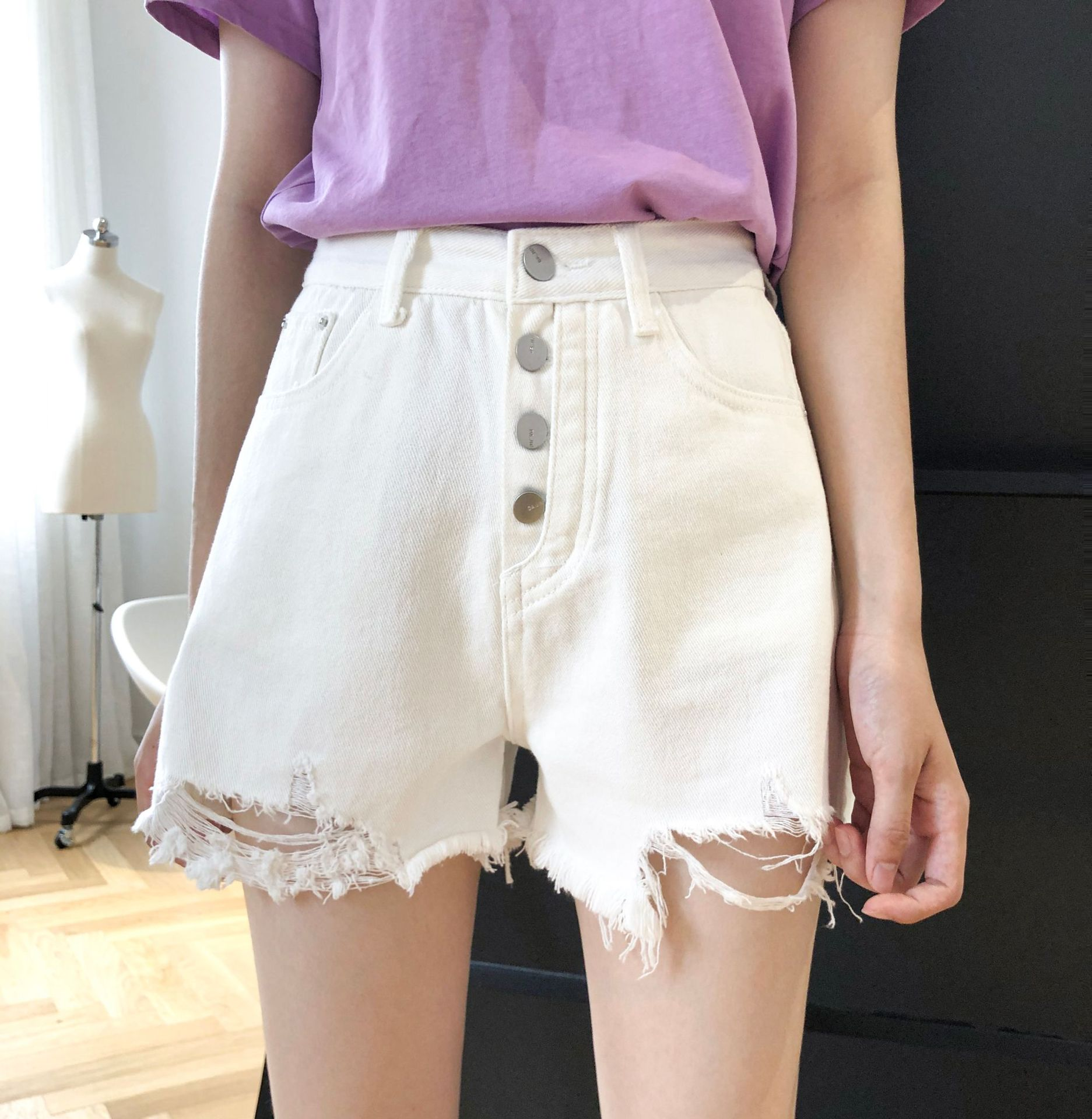 Lucky town summer 2020 new high waisted denim shorts womens white single breasted holed hot pants
