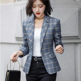 網紅小西裝外套女長袖毛料休閒時尚復古港風灰色格子短款西服修身