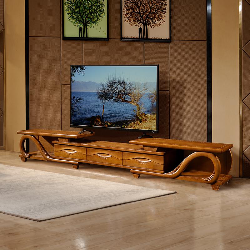 新中式实木电视柜茶几组合现代简约小户型客厅储物伸缩背景墙地柜