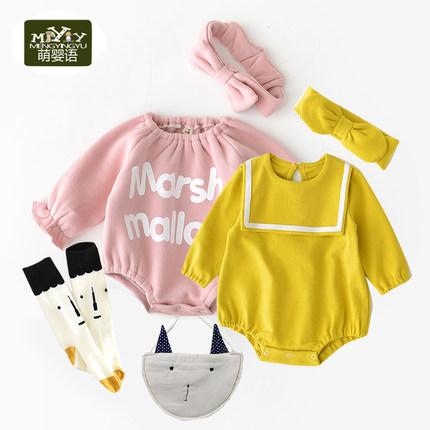 婴童秋冬女宝宝长袖韩版婴儿棉哈衣