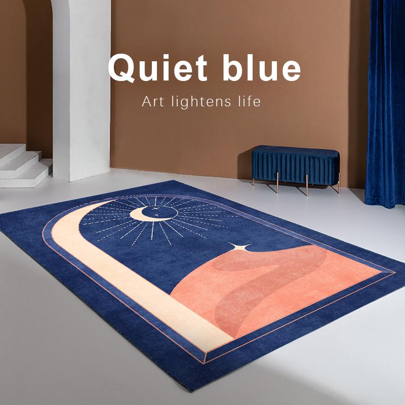 星空客厅蓝色现代沙发条纹床边地毯好用吗?