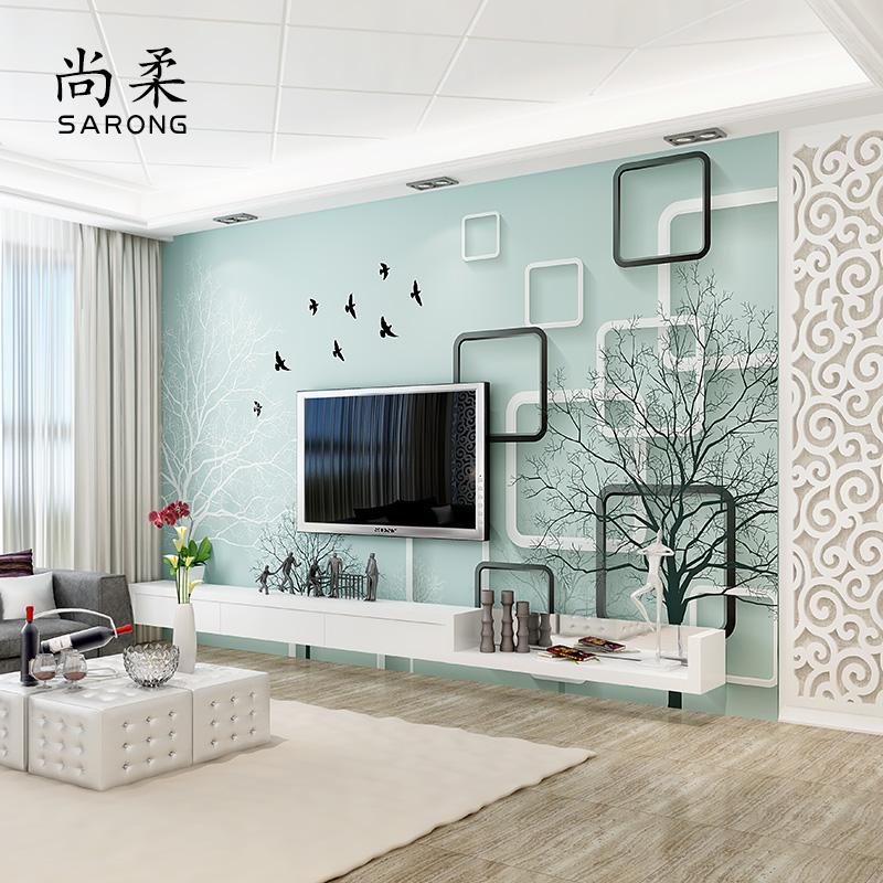 现代简约3D立体客厅电视背景墙壁纸5D影视墙壁画墙纸家用墙布大气