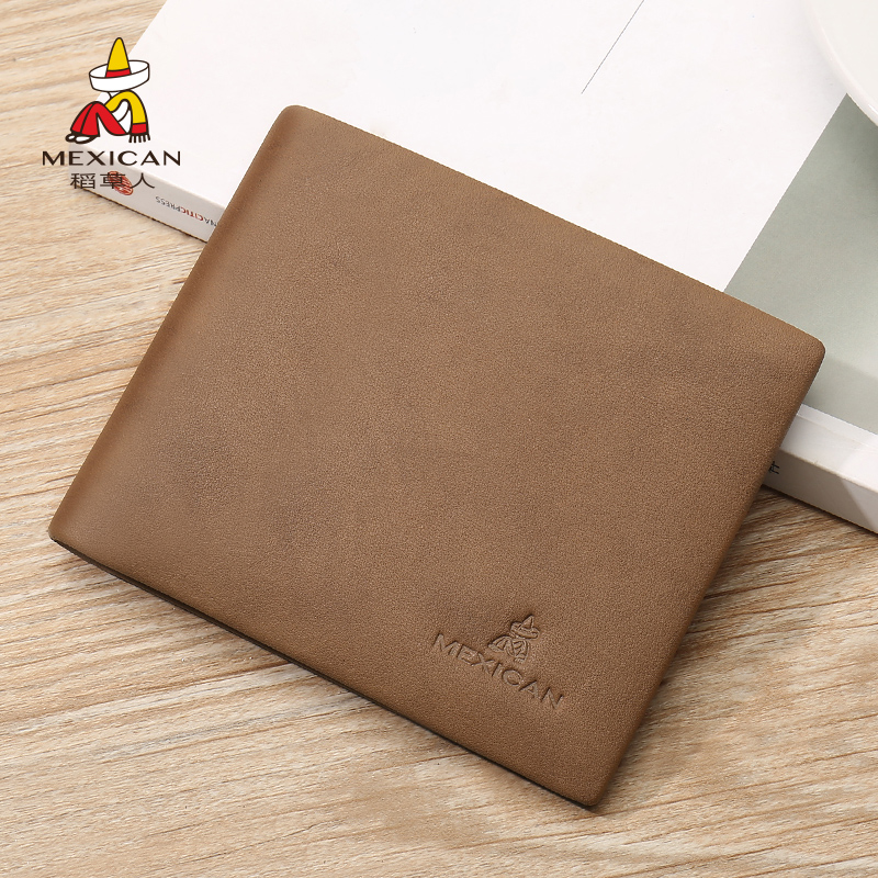 Scarecrow wallet mens authentic short 2020 new leather top layer cowhide wallet horizontal fashion brand wallet business