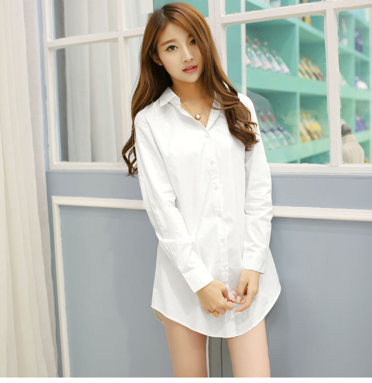 Nightdress female summer home sexy sweet thin boyfriend white shirt medium long spring and autumn short sleeve private room pajamas