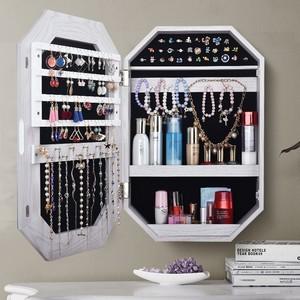 欧式家用带LED灯壁挂全身镜洗漱台卧室首饰盒收纳柜化妆镜梳妆台