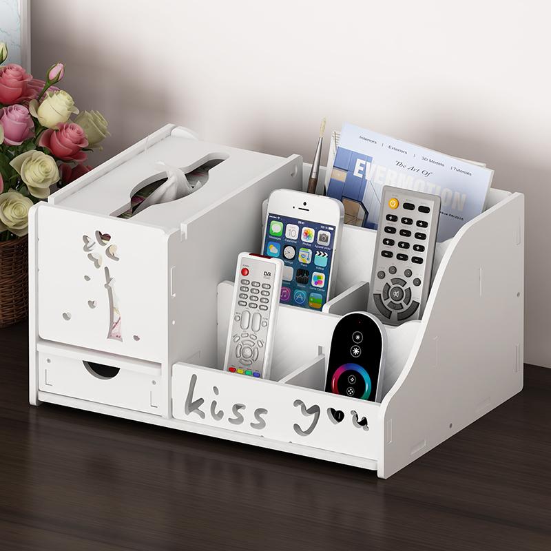 多功能抽纸巾盒家用客厅茶几遥控器桌面收纳盒子整理欧式餐巾盒