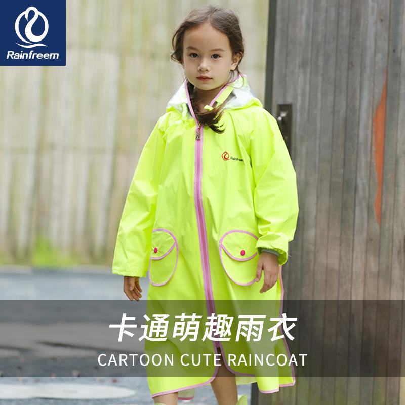 Qin Feiman childrens raincoat boys and girls kindergarten baby raincoat breathable odorless with schoolbag