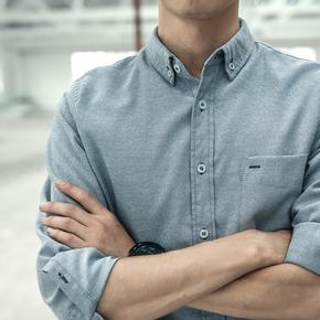 余文乐2020秋装原创修身咔叽长袖男士衬衫纯棉潮流休闲衬衣青少年