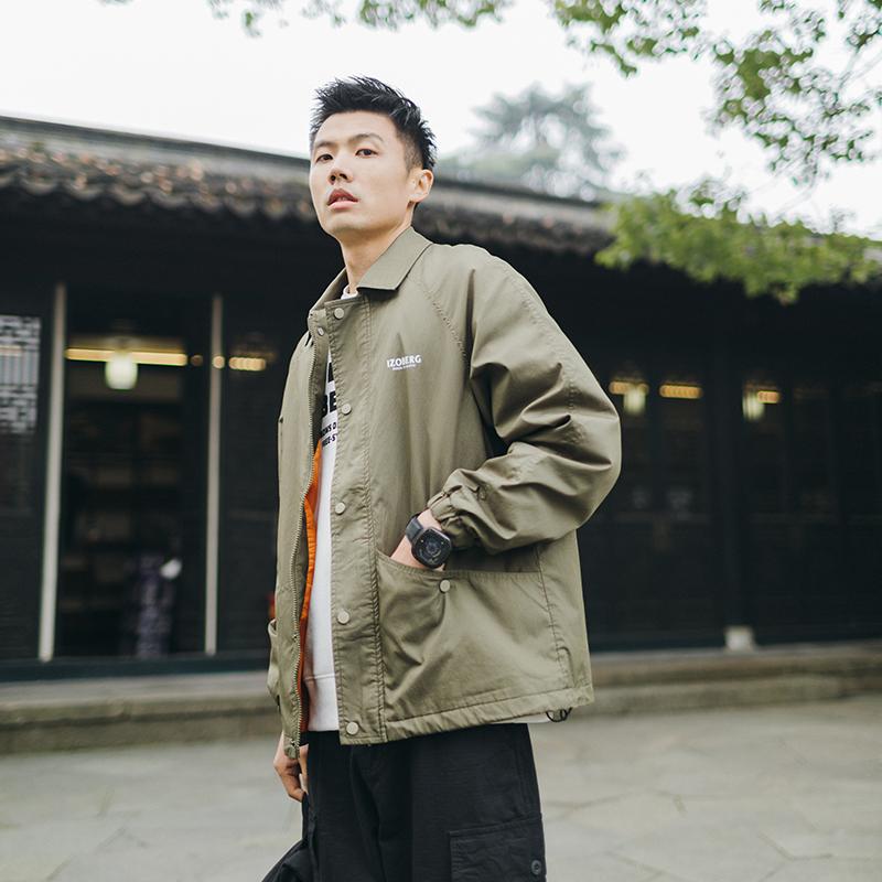 吕小虎春季美式教练夹克男2021新款潮牌运动上衣男士翻领宽松外套