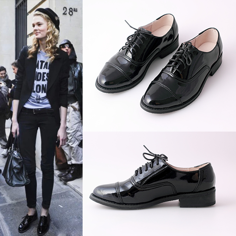 Black lacquered flat heeled leather shoes womens British college style round head leather single shoes flat sole Oxford Shoes Korean version