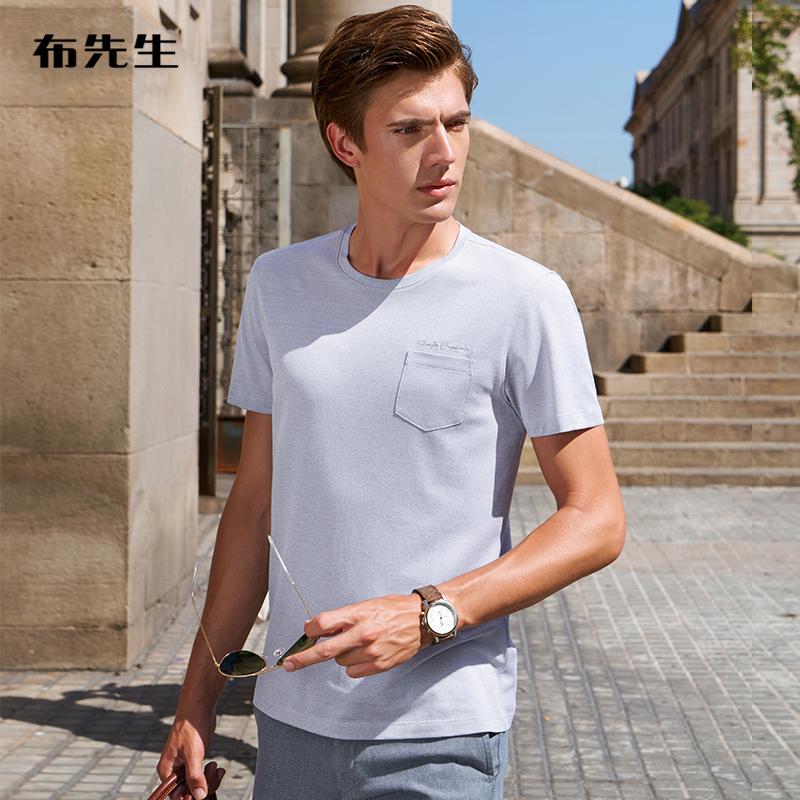 布先生短袖桑蚕丝纯色休闲短t t恤