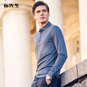 布先生春秋季长袖男士纯棉秋装t恤