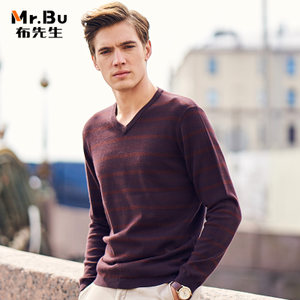 布先生 2017年秋冬新款男士羊毛衫 时尚V领条纹休闲毛衣男