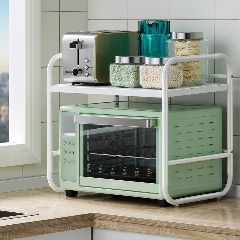 不锈钢厨房置物架微波炉架子桌面放电饭煲烤箱收纳架落地家用双层