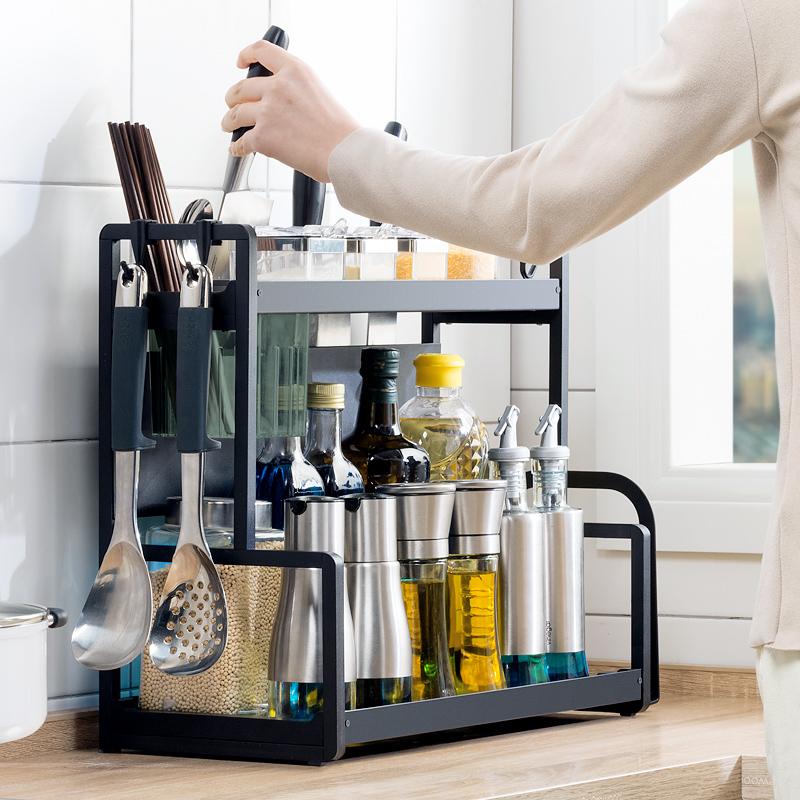厨房置物架台面不锈钢调料架家用用品大全黑色双层调味品收纳架子