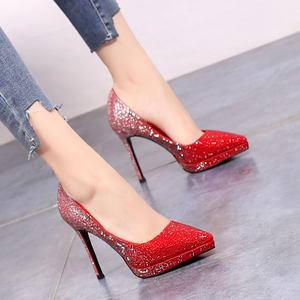 10.5cm水钻宴会高跟鞋渐变色礼服年会超美防水台细跟单鞋红色婚鞋