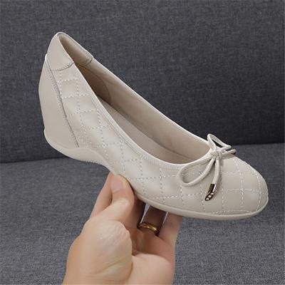 2021春季新款真皮蝴蝶结坡跟女鞋浅口内增高单鞋软底水钻高跟瓢鞋