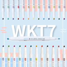 日本ZEBRA斑马荧光笔双头标记笔WKT7荧光色笔全套文具旗舰店淡色